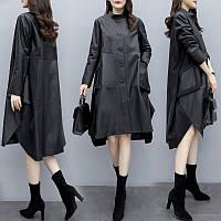 вільна шкіряна куртка трапецієподібної форми великого розміру, жіноче пальто