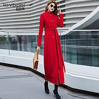 Длинное женское пальто воротник стойка 2 цв, фото 1