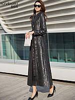 Женский плащ с лацканами, модная, приталенная, с принтом, длинная куртка