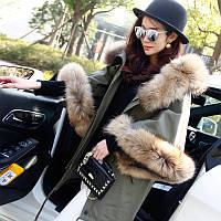 повсякденне пальто з коміром з хутра єнота, бавовняна куртка з рукавами-трубками
