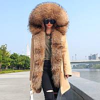 Куртка парку з великим коміром з хутра єнота 5 кол