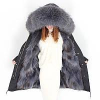 Парку підкладка з хутра єнота, куртка повсякденна з великим хутряним коміром 3кол