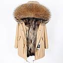 Парку підкладка з хутра єнота, куртка повсякденна з великим хутряним коміром 3кол, фото 4