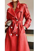 Дизайнерская двубортная кожаная куртка ,женский плащ пальто кожаное 2 цв