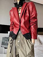 Дизайнерська шкіряна куртка жіноча , короткий піджак