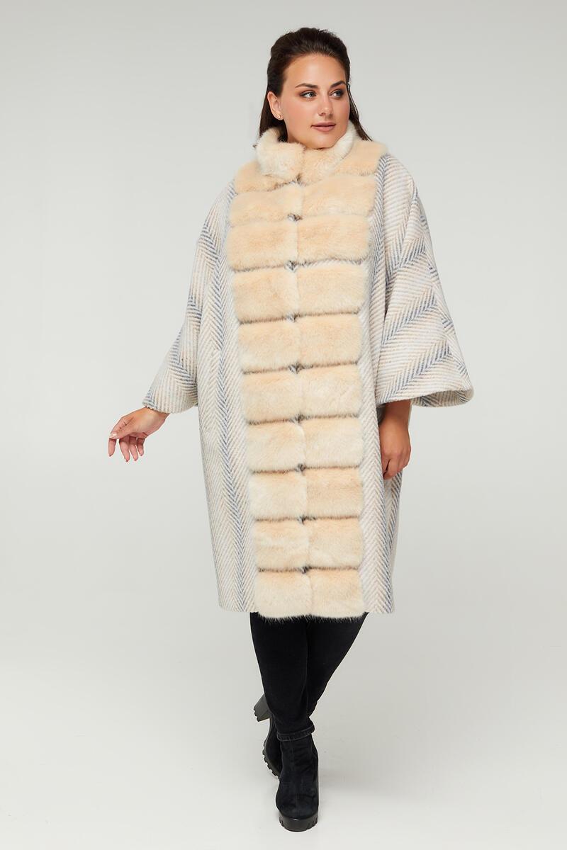 Оригинальное белое женское пальто-пончо с эко-мехом под норку  больших размеров от  50 до 62