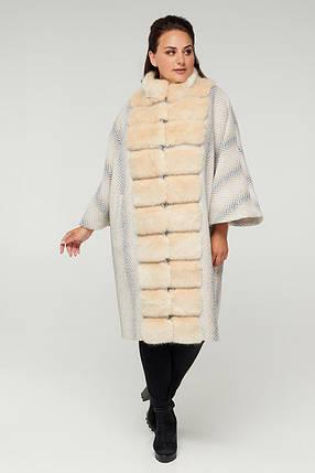 Оригинальное белое женское пальто-пончо с эко-мехом под норку  больших размеров от  50 до 62, фото 2