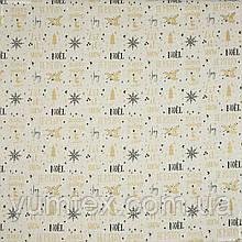 """Тканина декоративна бавовняна новорічна для скатертин та декору """"Ноел"""", фон пісок"""