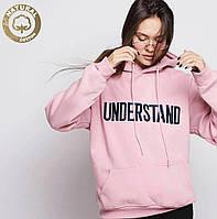 Хлопковое оверсайз худи женское на флисе розовое ( пудровое) understand