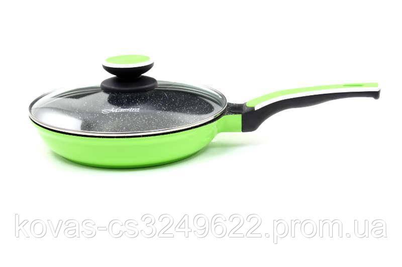 Сковорода с крышкой Maestro  салатовая d24 см керамическое антипригарное покрытие (1220-24G MR)