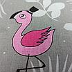 Наволочка, 40*40 см, (хлопок), (свадьба фламинго на сером), фото 2