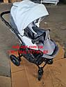 Детская коляска 2 в 1 Classik (Классик) Victoria Gold эко кожа серая с белым, фото 4