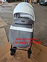 Детская коляска 2 в 1 Classik (Классик) Victoria Gold эко кожа серая с белым, фото 6