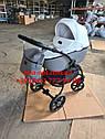 Детская коляска 2 в 1 Classik (Классик) Victoria Gold эко кожа серая с белым, фото 2