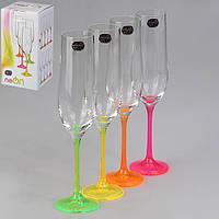 Набор бокалов для шампанского Bohemia Neon 190 мл 4 пр  b40729-D4892