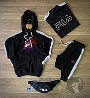Спортивный костюм мужской Fila (Фила) осенний | весенний демисезонный | комплект Худи + Штаны черный ТОП