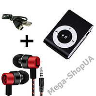 MP3 плеер алюминиевый клипса + вакуумные наушники + USB переходник / MP3 Sport Player Black