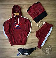 Спортивный костюм мужской Fila (Фила) осенний | весенний демисезонный | комплект Худи + Штаны бордовый ТОП