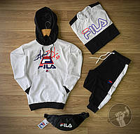 Спортивный костюм мужской Fila (Фила) осенний | весенний демисезонный | комплект Худи + Штаны черно-белый ТОП