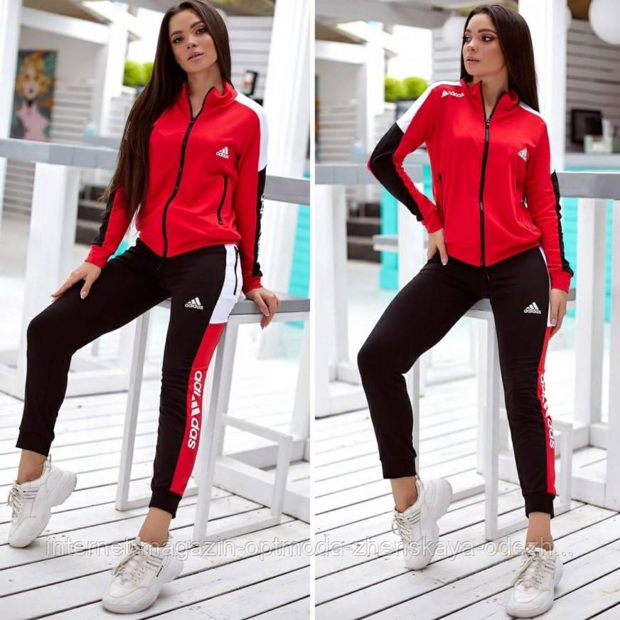 """Триколірний спортивний костюм жіночий з лампасами Adidas """"Attractive"""""""