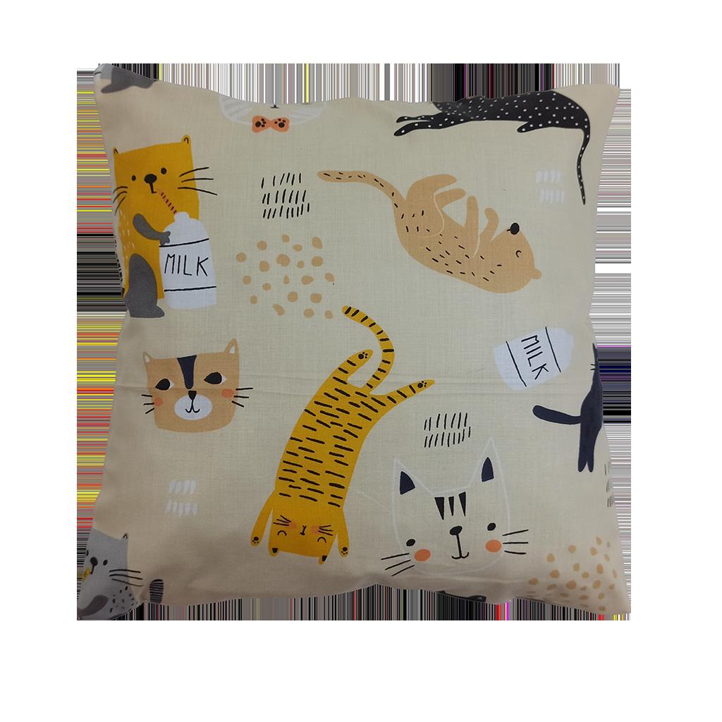 Подушка, 30*30 см, (хлопок), (коты с молоком на бежевом)