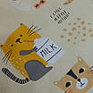 Подушка, 30*30 см, (хлопок), (коты с молоком на бежевом), фото 3