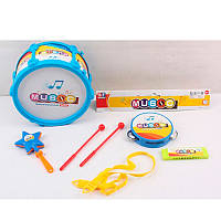 Детские музыкальные инструменты 9266E-F, барабан, бубен, губная гармошка