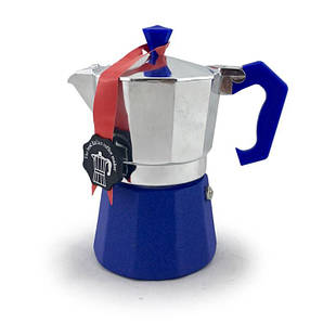 Гейзерная кофеварка синяя на 3 чашки LEDYORO COLOR GAT