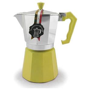 Гейзерная кофеварка лимонная на 6 чашек LEDYORO COLOR GAT
