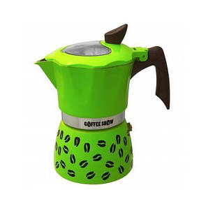 Гейзерная кофеварка зеленая на 2 чашки COFFEE SHOW GAT