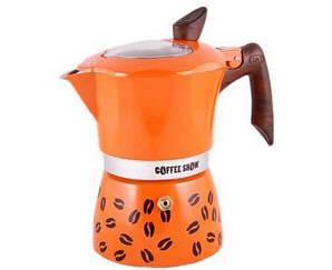 Гейзерная кофеварка оранжевая на 2 чашки COFFEE SHOW GAT