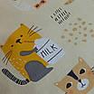 Наволочка, 30*30 см, (хлопок), (коты с молоком на бежевом), фото 3