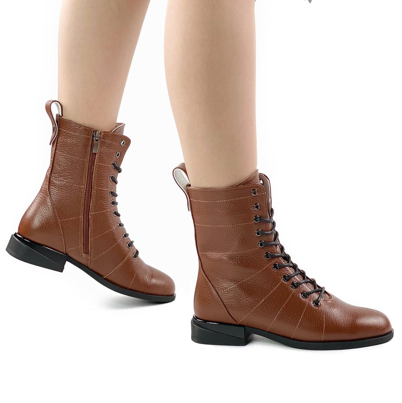 Ботинки женские кожаные рыжие на шнурках высокие MORENTO (весна-осень)