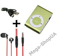 MP3 плеер алюминиевый клипса + вакуумные наушники + USB переходник / MP3 Sport Player Golden, фото 1