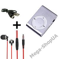 MP3 плеер алюминиевый клипса + вакуумные наушники + USB переходник / MP3 Sport Player Silver, фото 1