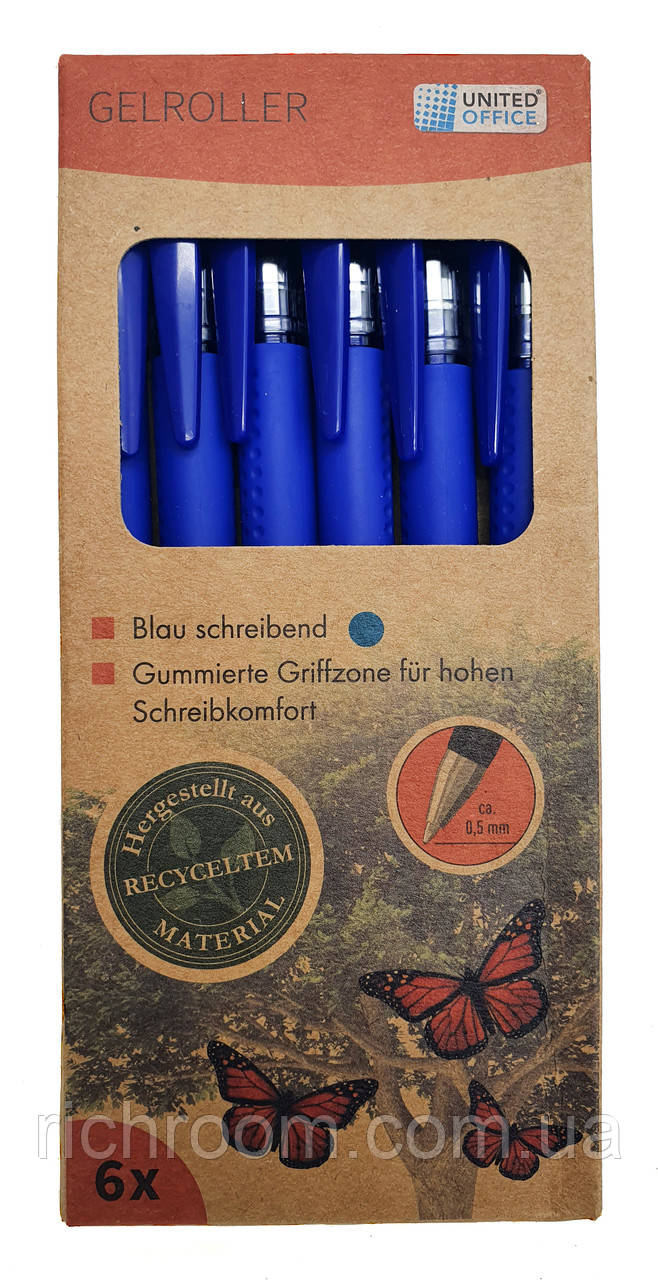 Набір ручок гелевих 6 шт UNITED OFFICE, гелева ручка синя