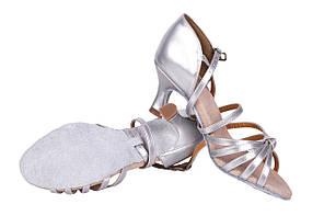 Босоножки для бальных танцев A 2100-1 7,5 см каблук Серебро, фото 2