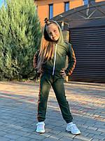 Спортивный костюм хаки для девочки, фото 1