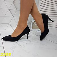 Туфли лодочки замшевые на низком каблуке черные, фото 1