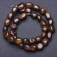 Бусины натуральный камень Бронзтит на нитке галтовка d- 8мм L-37 см
