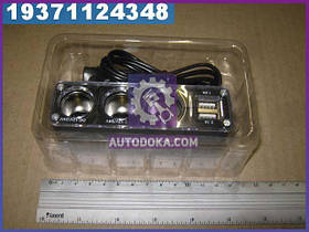 Разветвитель в прикуриватель на три гнезда + 2 USB, 1А/2, 1А (производство  Китай)  23002280