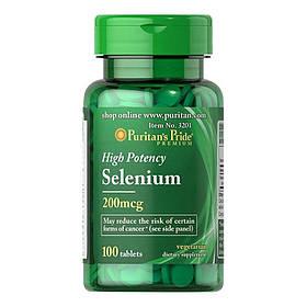 Селен Puritan's Pride Selenium 200 mcg (100 таб) пуританс прайд селениум