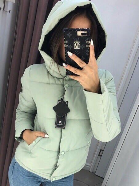 """Женская куртка """"Рондо"""", плащёвка +  синтепон 200, р-р С-М; М-Л (оливковый)"""