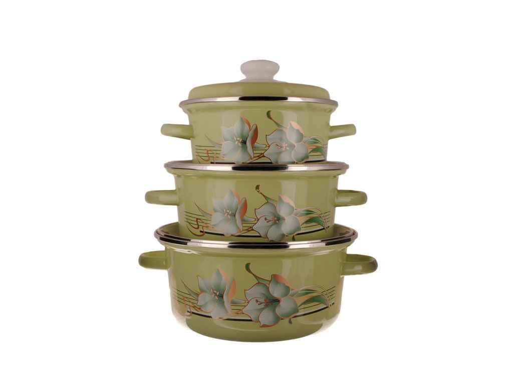 Набор эмалированной посуды Idilia Лилия цитриновый 3 предмета (№763)