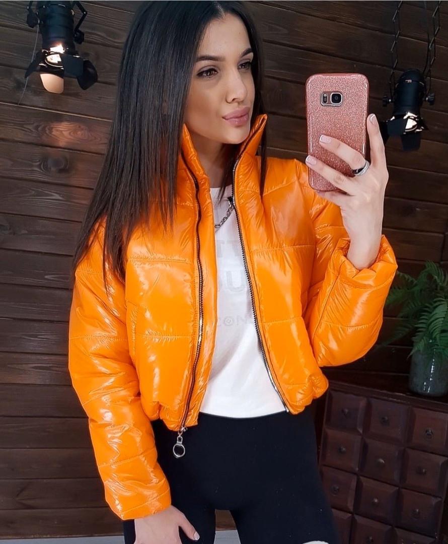 """Женская куртка """"Бэби"""", лаковая плащёвка + синтепон 200, р-р С-М; М-Л (оранжевый)"""