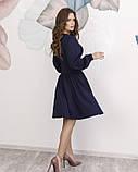 Синее платье с оригинальной драпировкой S, фото 3
