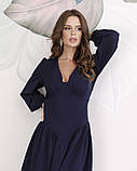 Синее платье с оригинальной драпировкой S, фото 4