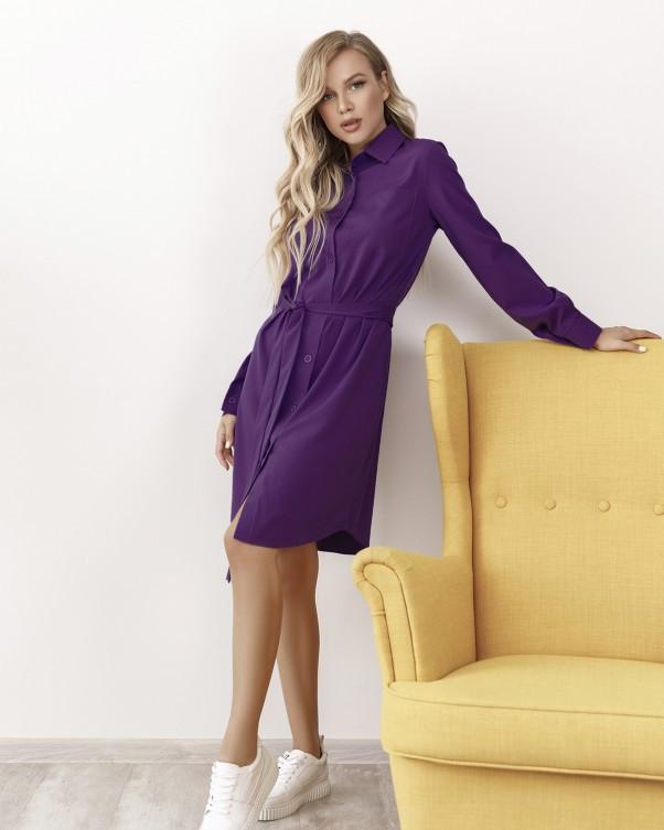 Фиолетовое платье-рубашка на пуговицах M