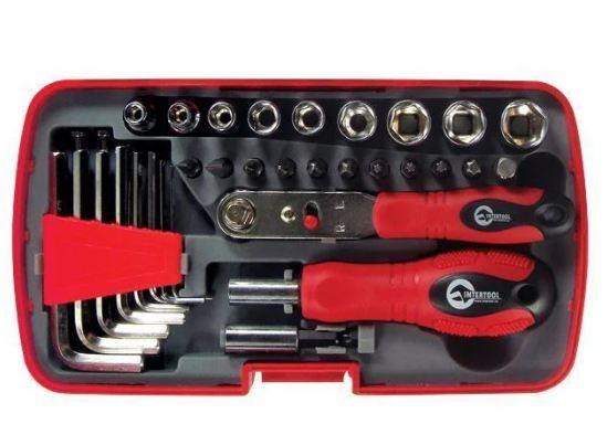 Отвертка с набором инструмента 35 ед., пластиковый футляр. INTERTOOL VT-1035