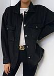 Женское пальто - рубашка, турецкий кашемир, р-р универсальный 42-46; 48-52 (чёрный), фото 2